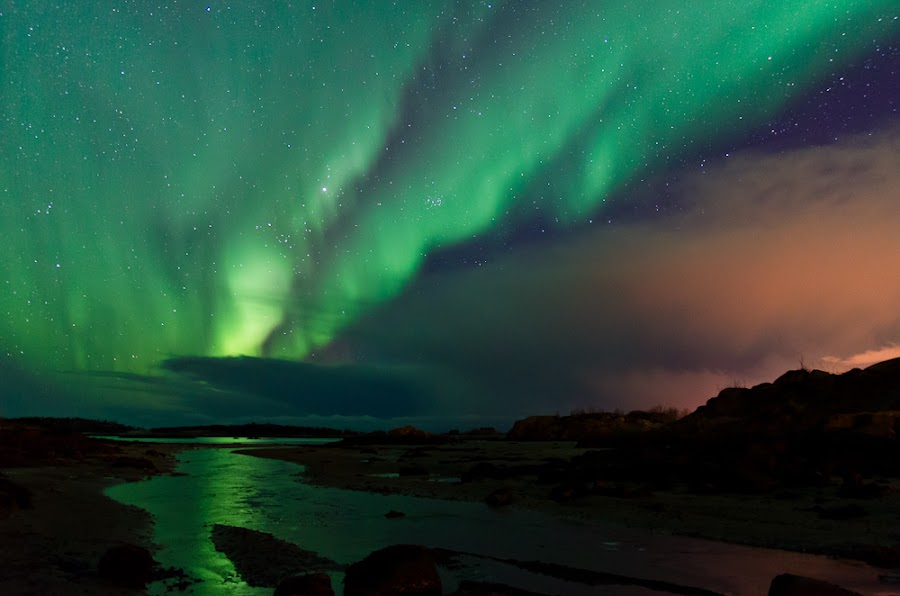 Aurora over Hersanvollan by Helge Korneliussen - Landscapes Starscapes ( mountains, winter, stars, northern lights, aurora borealis, sea, reflections, vesterålen, night, long exposure, beach, norway )