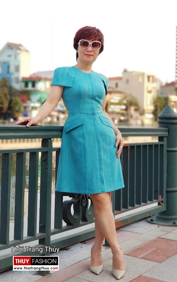 Váy xòe chữ A mặc công sở và dạo phố V700 thời trang thủy hà nội