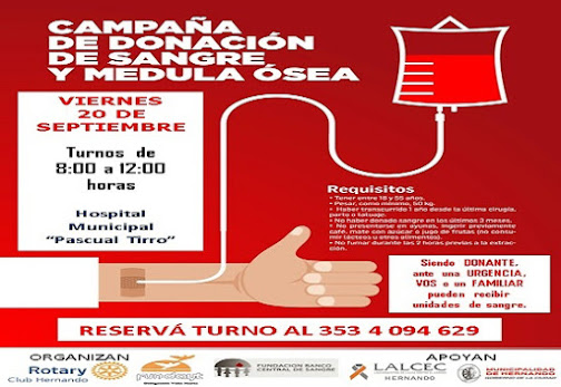 ROTARY: NUEVA CAMPAÑA DE DONACIÓN DE SANGRE Y MÉDULA OSEA