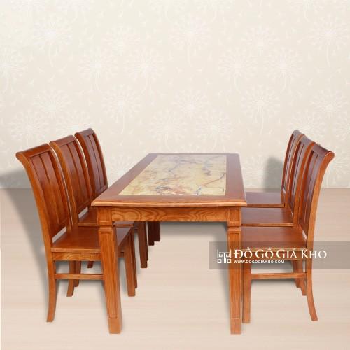 Bộ bàn ăn gỗ Sồi mặt đá cao cấp - BA064