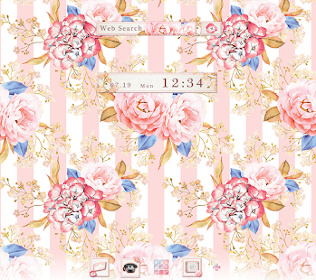 Flower Wallpaper Strips & Roses Theme - náhled
