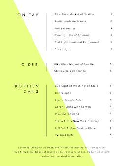 Beer & Cider Menu - Drinks Menu item