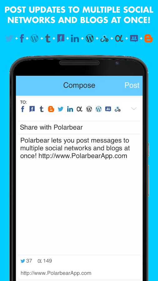 Polarbear: Twitter Facebook WP- screenshot