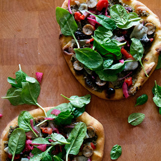 Naan Pizza with Broccoli Pesto.