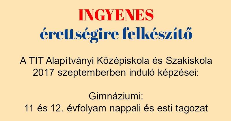 Ingyenes érettségire felkészítő Kaposváron 2017