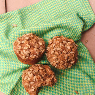 Whole Wheat Zucchini Muffins With Crunchy Sunflower Seed Topping