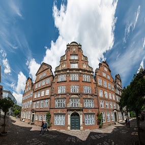 Old houses in Hamburg by Max Mayorov - City,  Street & Park  Historic Districts ( building, reflection, old, rich, brick, street, beautiful, traditional, architecture, house, hamburg, sky, red, window, blue, shadow, barocco, cloud, germany, historical, square, big, wall )