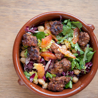Raddichio Salad With Blood Oranges, Chickpeas & Merguez Sausage