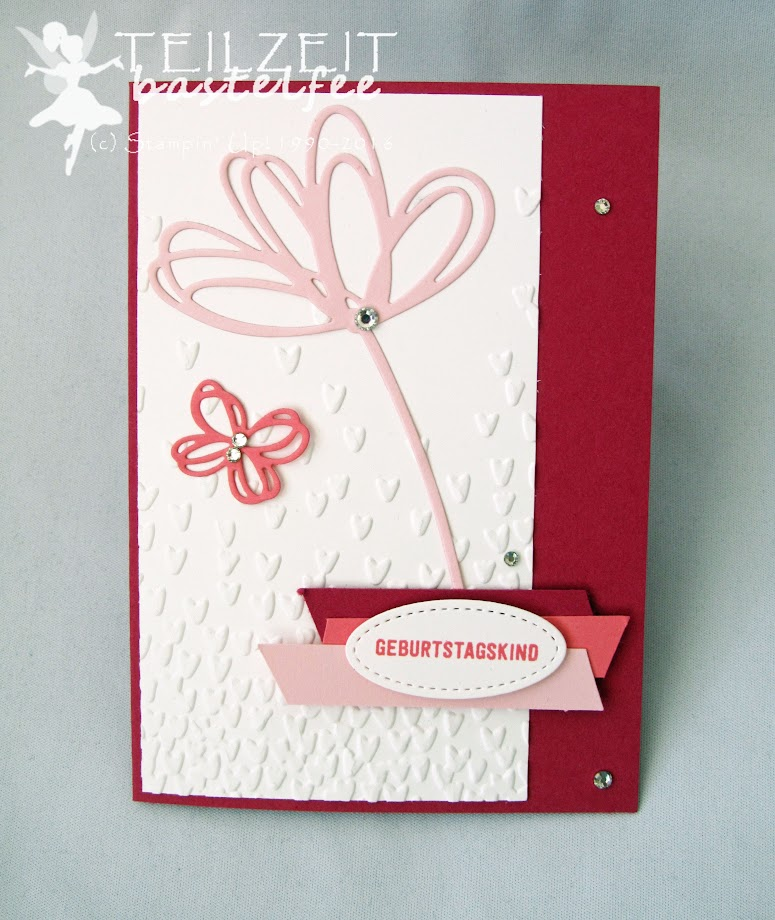 Stampin' Up! – In{k}spire_me #306, Color Challenge, Shades of Pink, Stitched Shapes Framelits, Sunshine Wishes Thinlits, Grüße voller Sonnenschein, Bannerweise Grüße, Thoughtful Banners, Falling Petals, Blütenregen Prägeform, Birthday Girl, Geburtagskind