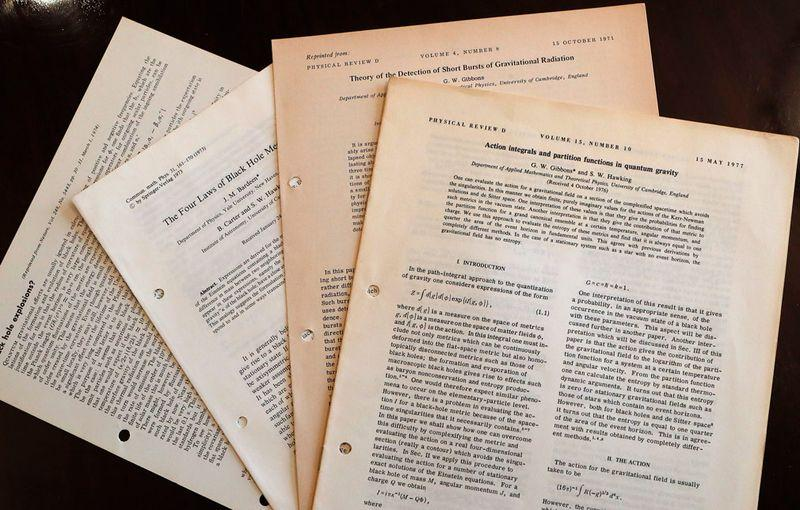 "Hawking's 1965 Cambridge University thesis, ""Properties of Expanding Universes"", sold for 584,750 pounds, more than three times its pre-sale estimate, in the online auction."