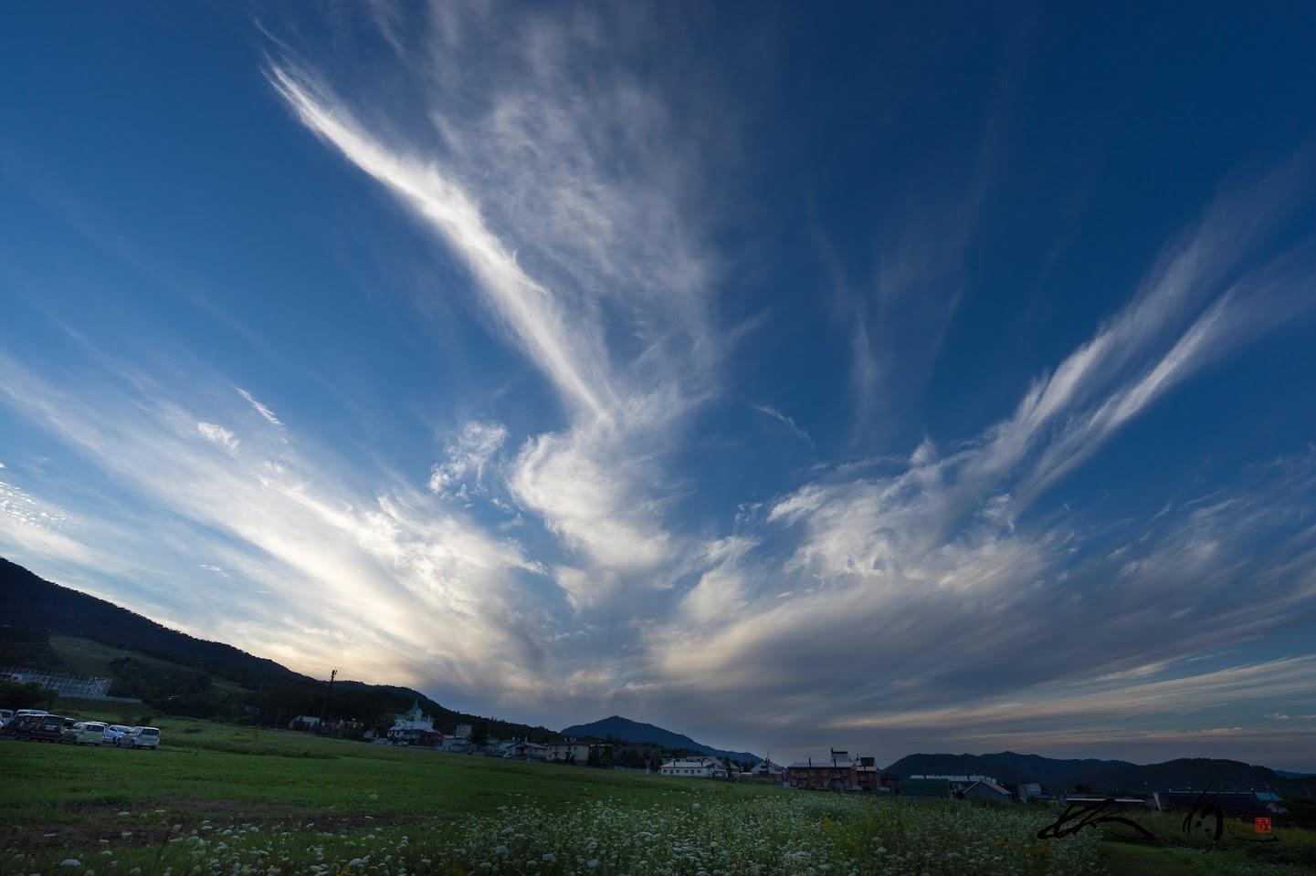 秋の雲が羽ばたく雄大な空