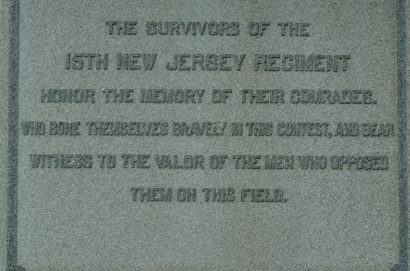 """Photo: This Union tribute statue in Spotsylvania County on Route 3 across from Salem Church cites the following: """"The survivors of the 15th New Jersey Regiment honor the memory of their comrades. Who bore themselves bravely in this contest, and bear witness to the valor of the men who opposed them on this field."""""""