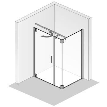 Duschkabinen_Drehtür und Nebenteil mit Seitenwand