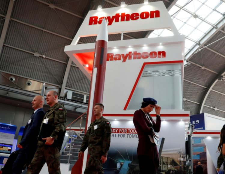 US defense company Raytheon stand at an international military fair.