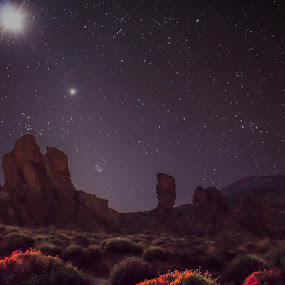 The Caldera, Tenerife by Peter Louer - Landscapes Starscapes ( moon, stars, night, landscape, starscape, teneife, nightscape,  )