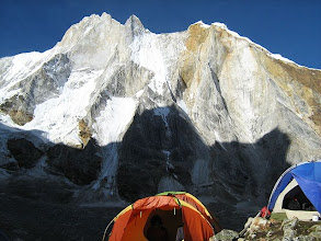 Photo: Meru wall and 'Shark fin', another one technicaly difficult peak of Indian Himalaya