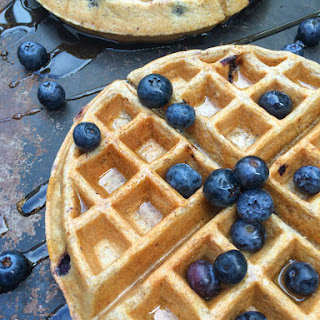 Blueberry Greek Yogurt Waffles.