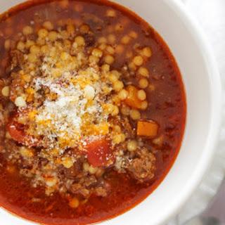 Beef, Tomato and Acini di Pepe Soup.