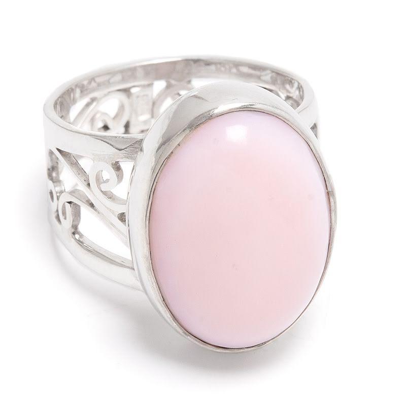 Rosa opal, ring i silver med filigranband