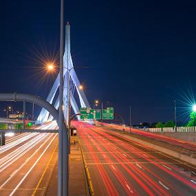 Zakim Bridge Boston Mass by Paul Gibson - City,  Street & Park  Street Scenes ( highway, boston, night photography, light trails, long exposure, bridge )