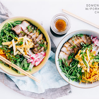 Somen Salad with Pork belly Char Siu.