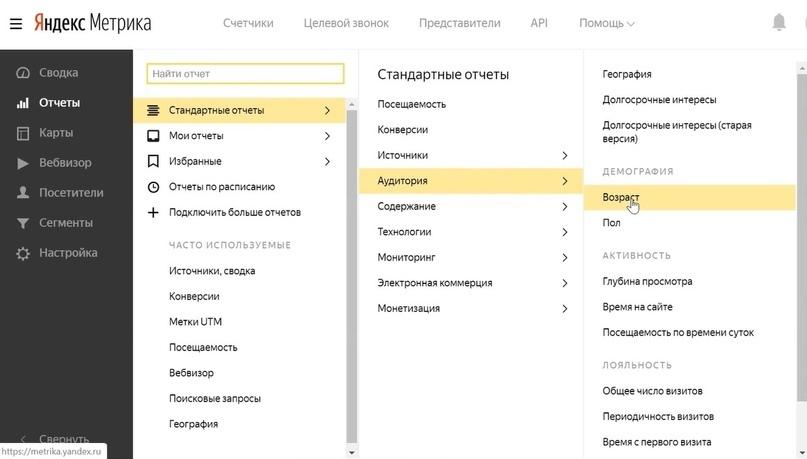 Яндекс.Метрика. Отчеты