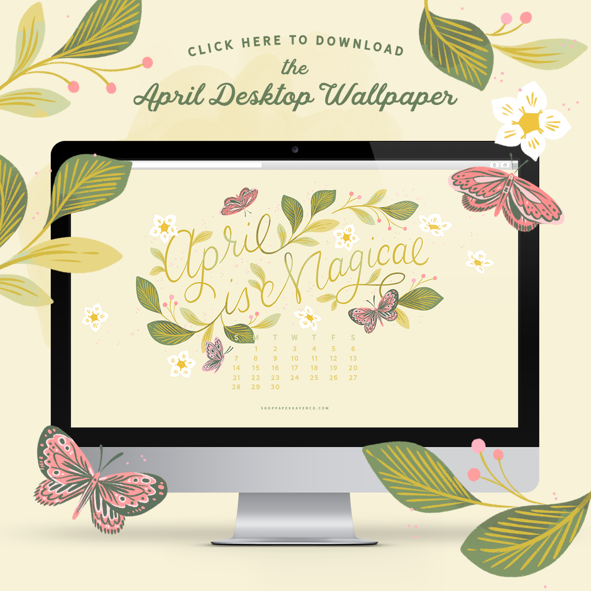 April 2019 Illustrated Desktop Wallpaper | www.ShopPaperRavenCo.com #dressyourtech #desktopbackground