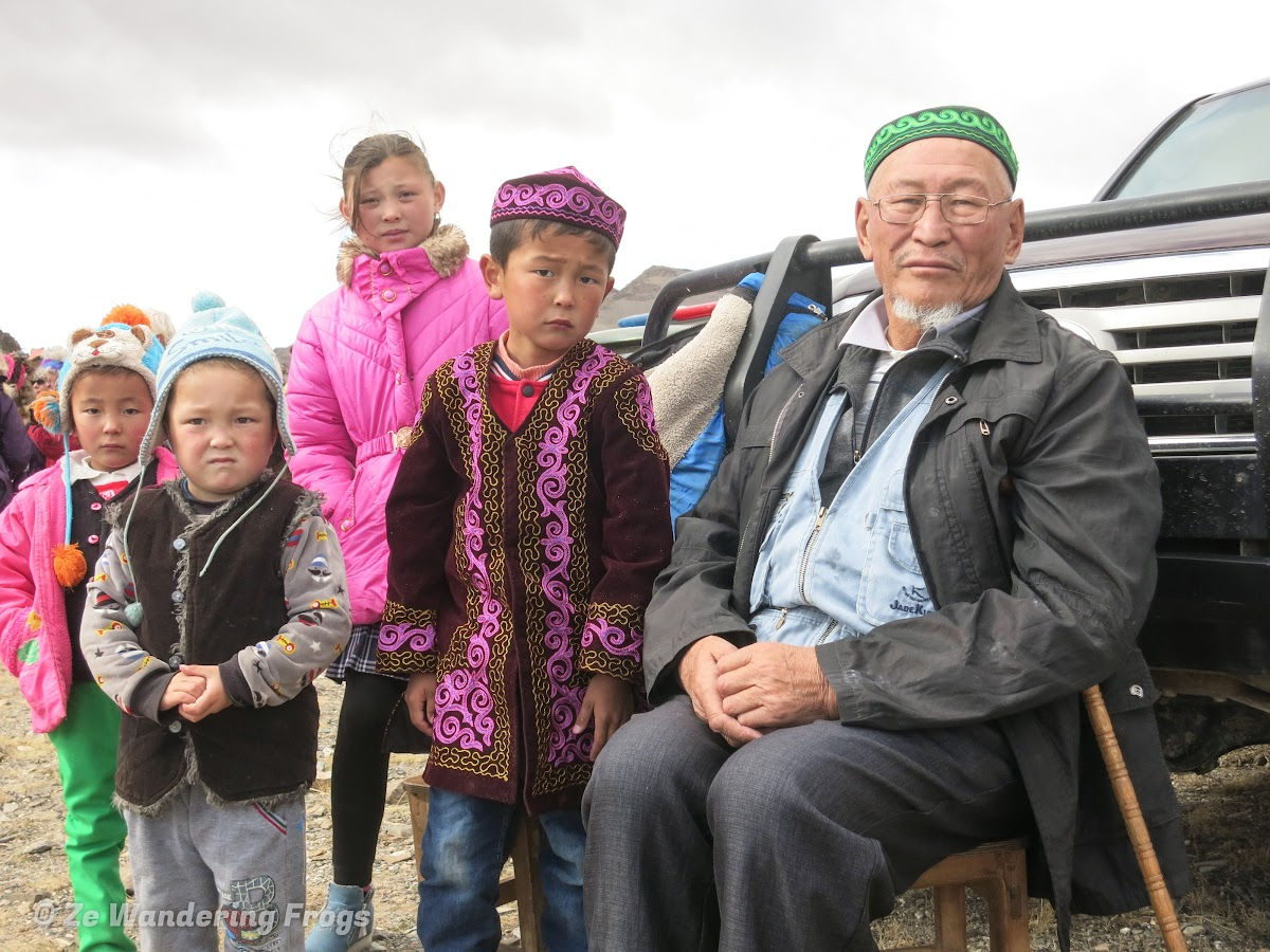 Mongolia. Golden Eagle Festival Olgii. Kazakh families came in traditional clothing