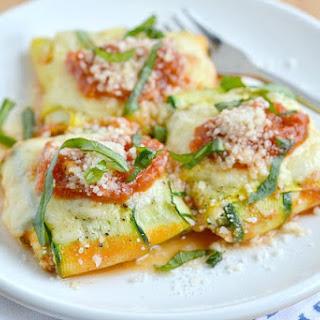 {Zucchinioli} Zucchini Ravioli with Spinach Ricotta Filling.