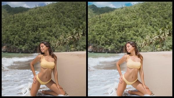 Montagem de duas fotos usando a mesma mulher posando na praia. Foto 1 sem edições e foto 2 usando o Filtro Rosy