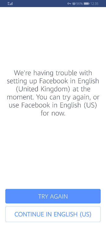 We Are Having Trouble Setting Up Facebook in English Try Again