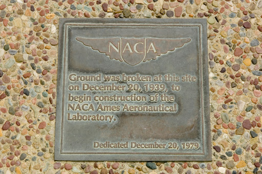 Ames and Moffett Field MFA sites with detail on brass plaque in walkway 40th year anniversary placement.