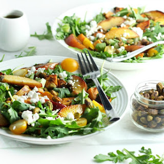 Grilled Peach and Sweet Potato Salad with Honey Balsamic Vinaigrette (summer salad recipe).