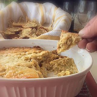 Artichoke Dip & Homemade Garlic Pita Chips.
