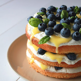 Blueberry Lemon Curd Cream Cake.