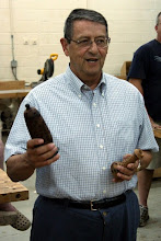 Photo: Jerry Kaplan is turning banksia pods -- a lidded box and a candle stick.