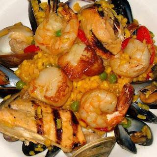 Paella, Saffron and Shrimp.