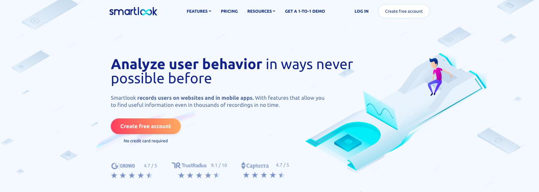 screenshot of marketing tool smartlook