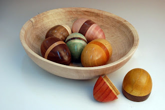 Photo: Ed Karch - Bowl full of Easter Eggs - osage orange, maple, walnut