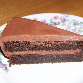Peanut Flour Chocolate Cake with Chocolate Buttercream Frosting