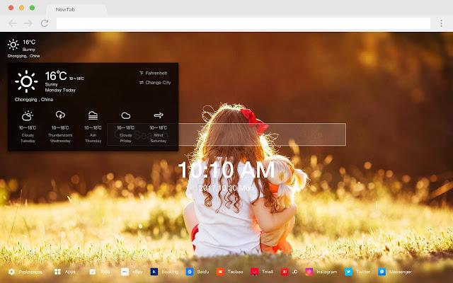 Little girl new tab HD pop portrait theme