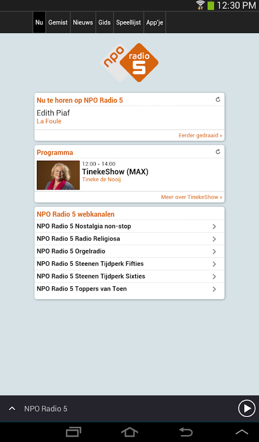 NPO Radio 5- screenshot