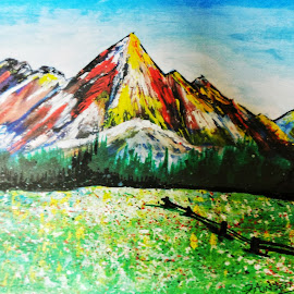 Rainbow mountains by Kanwar Rajneesh Singh - Painting All Painting