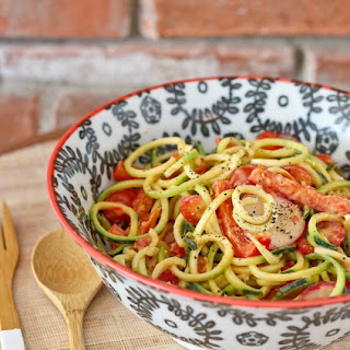 Zucchini Noodle Salad with Roasted Red Pepper Hummus Dressing