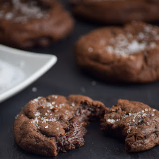 Salted Truffle Stuffed Chocolate Brownie Cookies