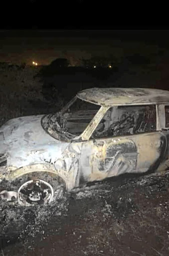 Kgaugelo Tshawane's burnout car, allegedly torched by boyfriend.