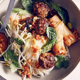 Bun Cha (Vietnamese noodles with pork and herbs).