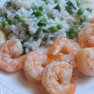 Spring Risotto with Lemon Shrimp.