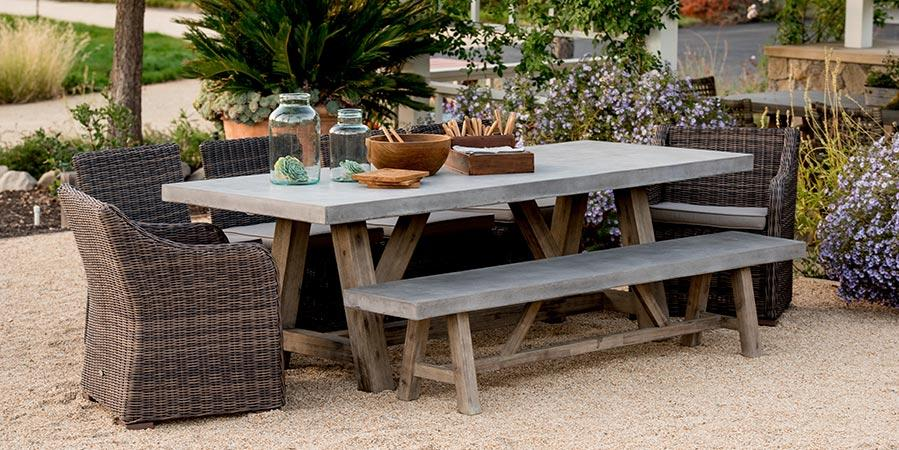 concrete outdoor dining table and bench