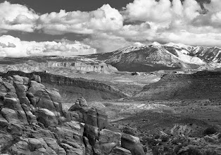 Photo: This is a shot of the La Salle Mountain range as seen from near the Fiery Furnace in Arches National Park. Last night I tried posting it alongside the color version of the same shot that my wife preferred, but in playing around in picasa I accidentally deleted the post. Oops! So here is a repost, sorry for those that already saw this.  And on a side note, the color version is still in my Landscapes album, feel free to look at it and let me know that my wife has better taste than I do.  #MountainMonday curated by +Michael Russell  #PlusPhotoExtract by +Jarek Klimek #MonochromeMonday